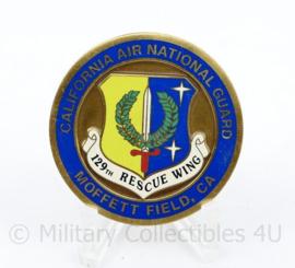 Zeldzame coin California Air National Guard 129th Rescue wing 300th save - diameter 4 cm - origineel
