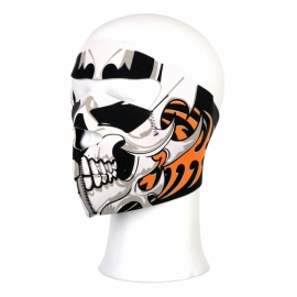 Biker mask full face - neopreen - skull, bones & orange flames
