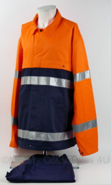 Van Houten Veiligheidskleding werkjas mét broek blauw oranje reflecterend - maat XXXLarge - NIEUW - origineel