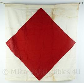 Wo2 British Royal Navy signaal vlag Jan 1944 - gebruikt - 83x90x0,1 cm - origineel