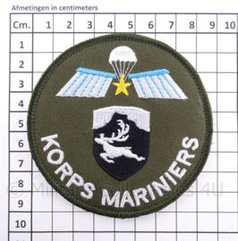 "KM Koninklijke Marine, Korps Mariniers ""koudweer met parawing"" embleem - met klittenband - diameter 9 cm"