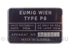 Eumig Wien type P8 dataplaatje filmprojector - origineel