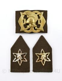 Defensie baret en kraag insigne set Officieren en opzichters van Fortificatiën - 3 delige set - origineel