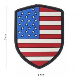 Uniform landsvlag USA Embleem 3D PVC schild  -  klittenband -8 x 6 cm