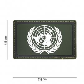Embleem 3D PVC UN / VN Verenigde Naties  -  klittenband - 7,8 x 4,8 cm -Groen