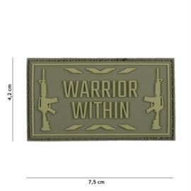Embleem 3D PVC WARRIOR WITHIN - groen - 7,4 x 4,1 cm