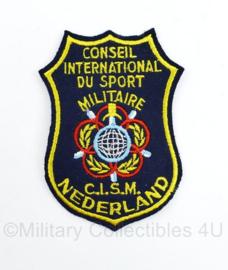 CISM Nederland Sport embleem Defensie - Conseil International du sport Militaire Nederland - 11 x 7,5 cm - origineel