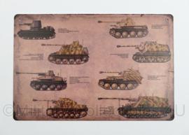 Nieuw gemaakte metalen plaat WO2 Duitse Tanks  - 30 x 20 cm - nieuw