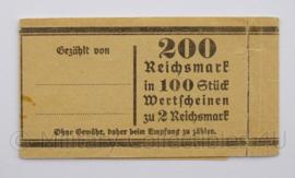 WO2 Duitse Geldband 200 Reichsmark totaal in 100 Stuck Wertscheinen zu 2 Reichsmark - origineel
