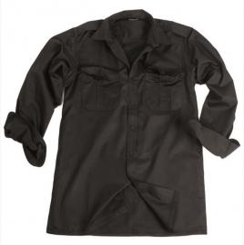 Overhemd ZWART katoen glad - lange mouw