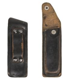 Zakmes tas / Multitool tas / Walther P5 magazijntas zwart leer - 12 x 3 cm. origineel