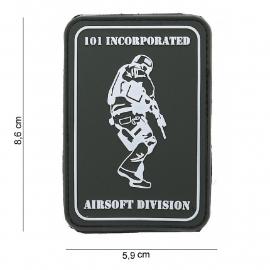 Embleem 3D PVC 101 INC Airsoft Division -  klittenband - 8,6 x 5,9 cm