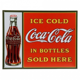 Metalen plaat  -  Coca Cola Ice Cold In Bottles Sold Here 32 X 41 cm.