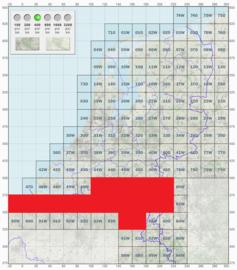 KL Nederlandse leger topografische stafkaart 1:50000 - nr. 50 t/m 58 - op rol - 60 x 60 cm - origineel