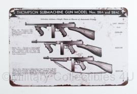 Nieuw gemaakte metalen plaat met WO2 US Thompson Submachine Gun  Nos 28A and 28AC- 30 x 20 cm - nieuw