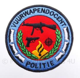 Vuurwapen docent Politie embleem, in kleur - met klittenband - diameter 9 cm