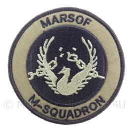 "KM Koninklijke Marine, Korps Mariniers embleem ""MARSOF M-squadron"" - met klittenband - diameter 9 cm"