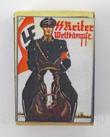 WO2 Duits luciferdoosje van echt hout - SS Reiter Wettkampfe - afmeting 6 x 4 cm - replica