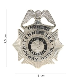 Tennessee Highway Patrol Trooper's Badge zilver - 7,5 x 6 cm