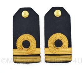 Koninklijke Marine Vintage Officiers epauletten PAAR -Luitenant ter zee der 2e klasse - 13 x 6 cm - origineel