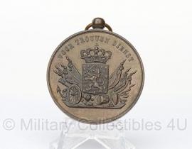 Bronzen Nederlandse  medaille voor 12 jaar trouwe dienst - Wilhelmina versie van voor 1951!- zonder lint - origineel