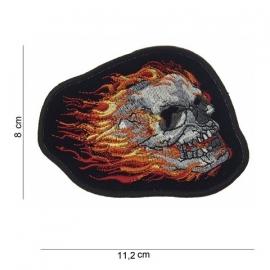 Embleem Skull + Flames - 11,2 x 8 cm.