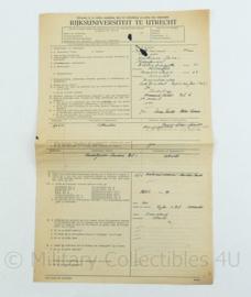 Document Rijksuniversiteit Utrecht 1945 -39x25 cm - origineel