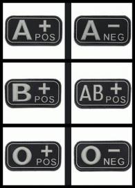 Embleem Bloedgroep - 3D PVC - 5 x 2,5 cm. - Klittenband - Zwart / Grijs