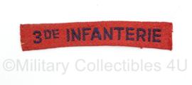 MVO straatnaam  enkel 3de Regiment Infanterie - 11 x 2 cm - origineel