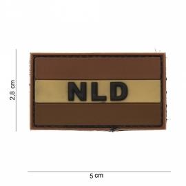 "Uniform landsvlag Nederland embleem PVC ""NLD"" - DESERT - 5 x 2,8 cm - met klittenband"