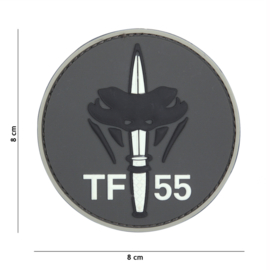 Embleem 3D PVC met klittenband - Special Forces TF-55 Grey- 8 cm. diameter