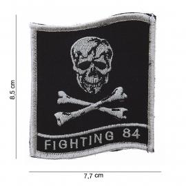 Embleem stof - Fighting 84 - met klittenband - 8,5 x 7,7 cm