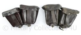 Wo2 Steyr M95 Mannlicher Oostenrijks Duits patroontassen paar AF Buhler Stuttgart 1930 - donkerbruin leer  - origineel