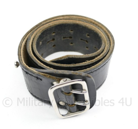 KMAR Marechaussee zwart lederen koppel - 72cm - gedragen - origineel