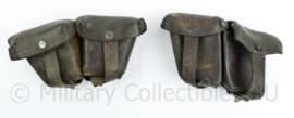Wo2 Steyr M95 Mannlicher Oostenrijks Duits patroontassen paar - donkerbruin leer - gedateerd 1930 - 17 x 9 x 5 cm - origineel