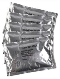 Bundeswehr Water rantsoen -  per 5 zakjes a 100 ml. - 5 jaar houdbaar