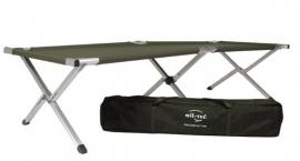 US model veldbed aluminium - 190 x 65 cm - groen - met draagtas