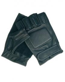 Security handschoen LEDER - zonder vingers - zwart