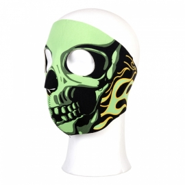 Biker mask full face - green flames