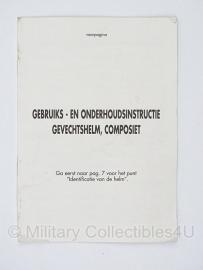 KL composiet helm instructie boekje Gebruiks- en onderhoudsinstructie Gevechtshelm composiet - origineel