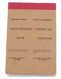 Field message book Canadian Forces / Leger notitieblok 11x17 cm