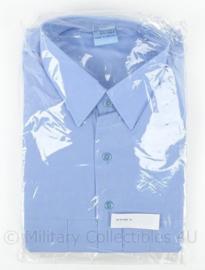 Belgische politie overhemd met wit logo op borst blauw  - lange mouwen - maat 43 - nieuw in de verpakking - origineel