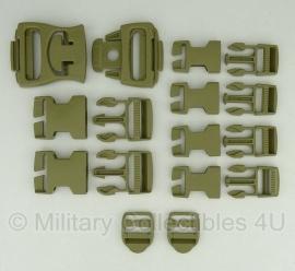 US Army Fastex gespen set - 16 stuks - Coyote - voor rugzakken