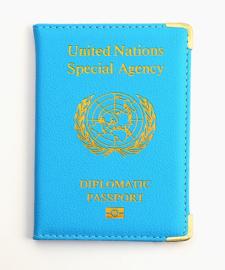 VN UN United Nations Special Agency Diplomatic Passport paspoort hoesje - BLAUW - 14 x 10 cm