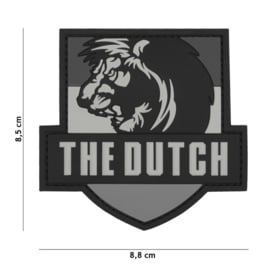 Embleem 3D PVC met klittenband - The Dutch Lion Grey - 8,5 x 8,5 cm.