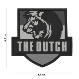 Embleem 3D PVC met klittenband - The Dutch Lion Grey - 8,5 x 8,5 cm.