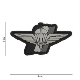 Embleem 3D PVC met klittenband - Para Wing België - grijs - 8 x 4 cm.