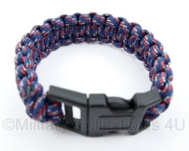 Paracord armband - 23 cm - blauw/rood/wit