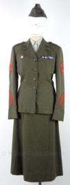 USMC US Marine Corps M1952 Master Sergeant uniform set dames, jasje, rok, overhemd, stropdas en schuitje - maat 38 - origineel