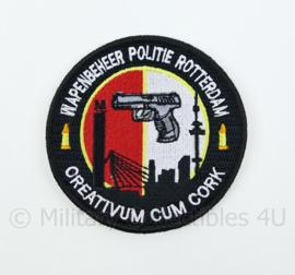 Nederlandse Politie Wapenbeheer Politie Rotterdam Creativum Cum Cork embleem - met klittenband - diameter 9 cm